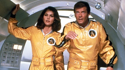 Roger Moore and Lois Chiles find themselves battling in space at the finale of Moonraker