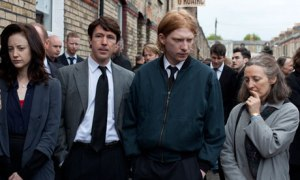Andrea Riseborough, Aiden Gillen, Domhnall Gleeson and Brid Brennan as the McVeighs in Shadow Dancer